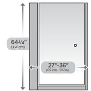 "27"" No Top Track Pivoting Shower Door"