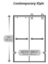 Contemporary Style Sliding Shower Door 60""