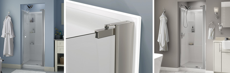 No Top Track Style Pivoting Shower Door Installation