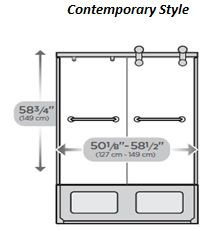 "Contemorary Style Sliding Door 60"" Bathtub"