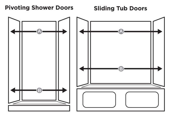 Measure The Shower Opening Width At Top (A) And Bottom (B) ...