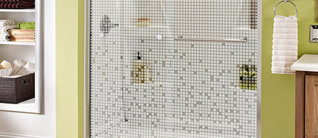 patterned privacy glass shower doors with opaque, frosted & textured designs